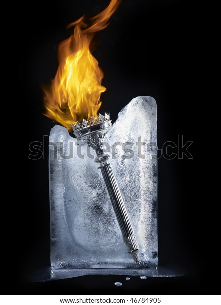 burning torch in ice cube