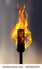 burning torch at night, close up