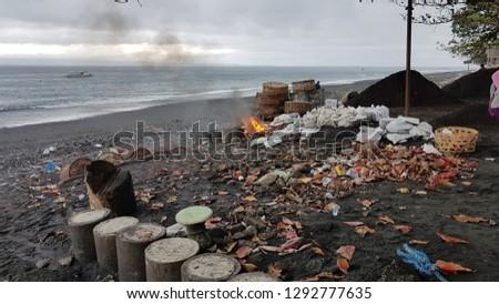 Burning Trash On Kusamba Beach Bali Stock Photo Edit Now