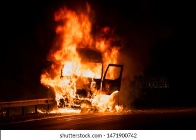 Burning truck on the highway