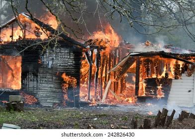 Burning walls falling