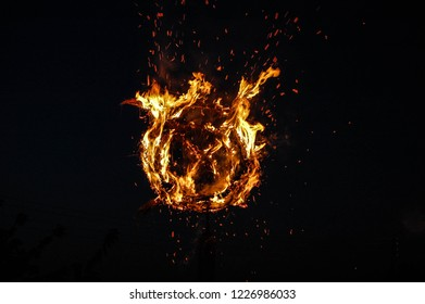 Burning wheel, the symbol of the sun on the night of Ivan Kupala