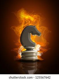 Burning white chess horse in Fire. high resolution 3d illustration