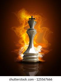 Burning white King in Fire. high resolution 3d illustration