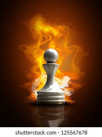 Burning white Pawn in Fire. high resolution 3d illustration