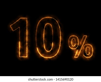 Burning wire of 10%, owith the black background