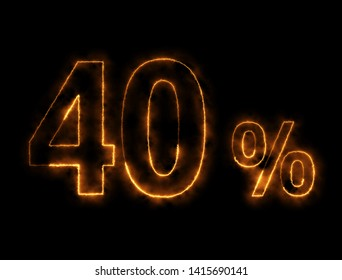 Burning wire of 40%, with the black background