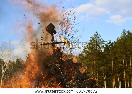 Burning Witches Witches Night Walpurgis Night Stock Photo