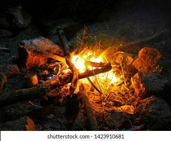 Burning wood in the fire, divorced by tourists, in marching conditions at night