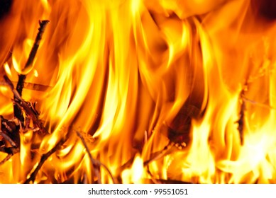 Burning wood in the fireplace and the flames.