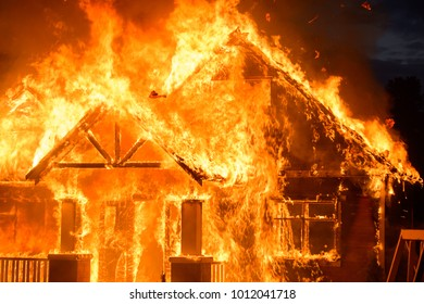 Burning wooden house