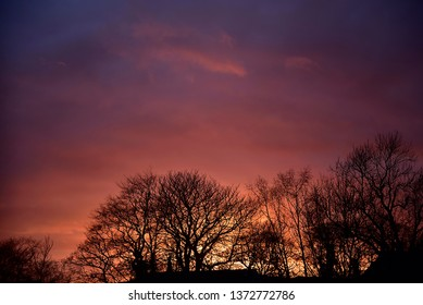 Burnley England March 07 2019.Dramatic Spring Equinox Sunset over Burnley in the north of England.