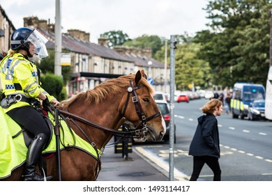 Burnley, Lancashire England UK - August 31, 2019, Mounted police officers on crowd control duty at football match between FC Burnley and FC Liverpool outside a Turf Moor