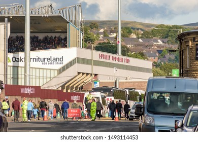 Burnley, Lancashire England UK - August 31, 2019, A view at Turf Moor and crowds of supporters arrivng on football match between Fc burnely and fc Liverpool in Barclays Premier League