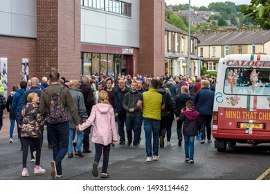 Burnley, Lancashire England UK - August 31, 2019, Football supporters arriving at football match between FC Burnley and FC Liverpool outside a Turf Moor