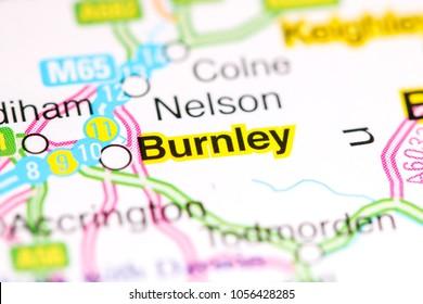 Burnley. United Kingdom on a map