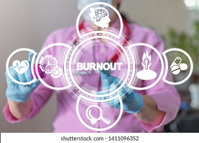 Burnout disease medical concept. Burn out syndrome examination and treatment.
