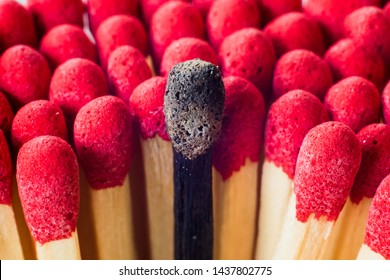 Burnout, stress, exhaustion and work-life balance concept.  Close-up of a single burnt match in a group of matches.