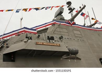 Burns Harbor, Indiana / USA - October 26, 2019:  USS Indianapolis Commissioning Ceremony
