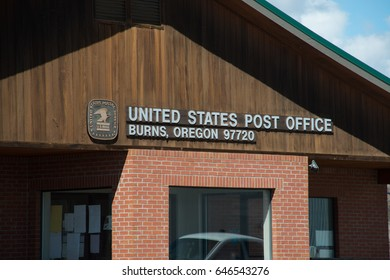 BURNS, OREGON APRIL 21 2017, Main signage on the Post Office in Burns.