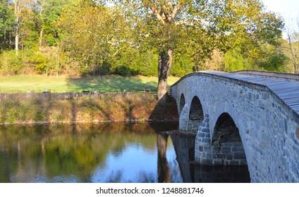 The Burnside Bridge stretches across the Antietam Creek in Antietam National Battlefield in Sharpsburg Maryland.