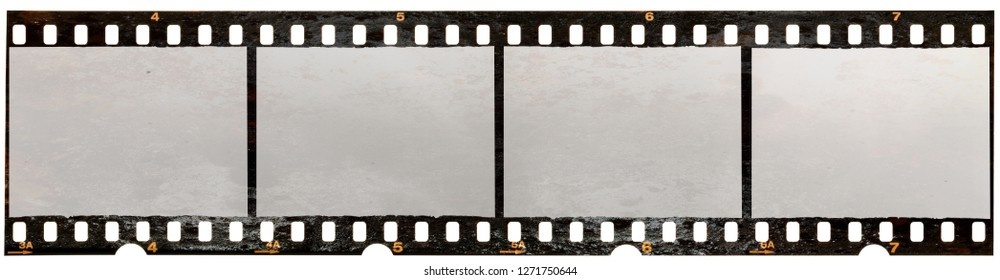 Burnt 35mm filmstrip on white, film material with burned texture on it