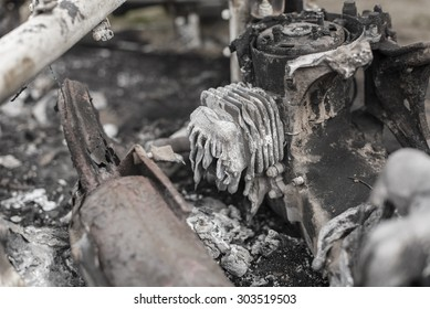 The burnt aftermath of a scooter fire