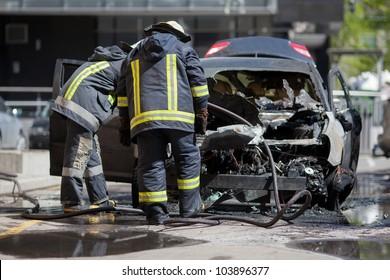 A burnt car