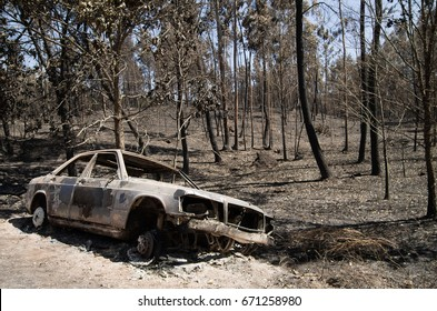 Burnt car pushed aside the road before a burnt forest caused by a massive forest fire. Pedrogao Grande, Portugal.