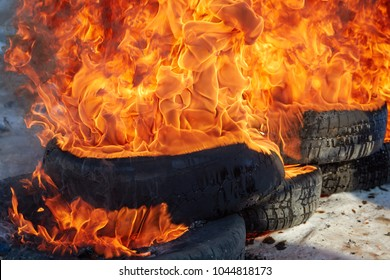 burnt car wheel, car accident, wheel in the fire, burnt tires, burning tires for protest