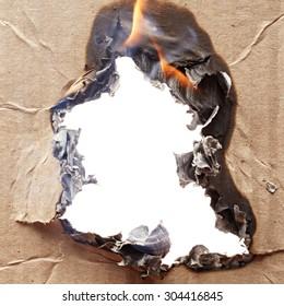 Burnt cardboard