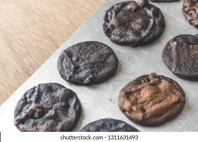 Burnt chocolate chip cookies.
