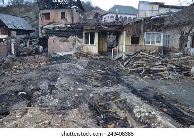 Burnt down house completely damaged by fire