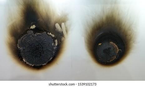 A burnt floor. Fire retardant infill varnish.