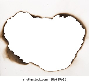 burnt frame in a paper