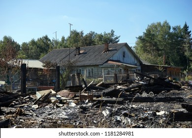 Burnt house in the russian village