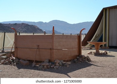burnt offering altar, Model of Tabernacle, tent of meeting in Timna Park, Negev desert, Eilat, Israel