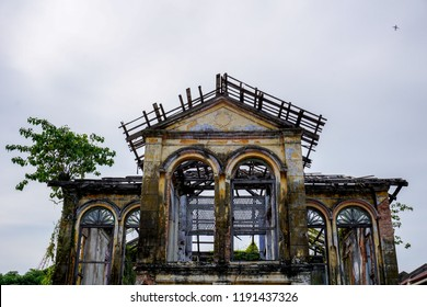 Burnt old house in Penang, Malaysia