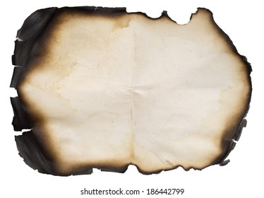 burnt old paper isolated over white background