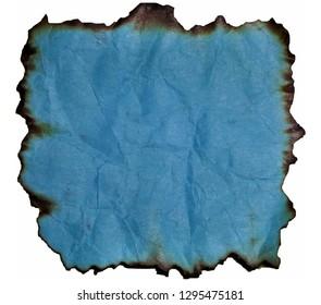 Burnt old sticker.Burned texture.Blue battered and burned vintage paper.