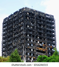 The burnt out remains of the 24-storey Grenfell Tower block in West London, which burnt down in the early hours of June 14th 2017 claiming the lives of around 100 people and making many more homeless.