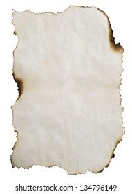 burnt paper isolated on white