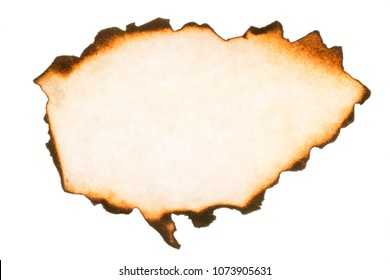 Burnt paper piece with thorn edges macro texture. Texture and background isolated on white