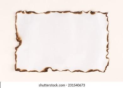 burnt paper sheet edge isolated on white