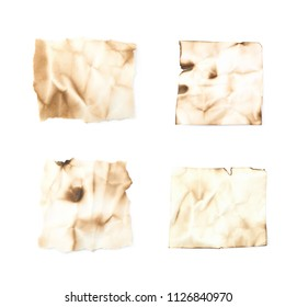 Burnt paper sheet isolated over the white background , set of several different foreshortenings