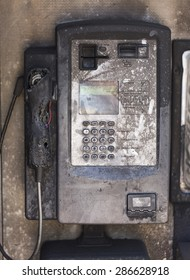 Burnt public payphone vandalized by arson