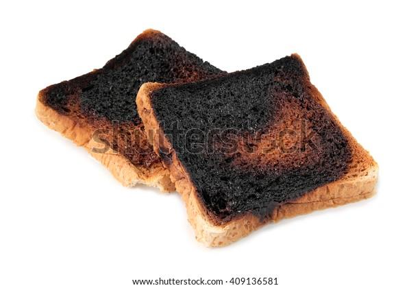 burnt toast on white background