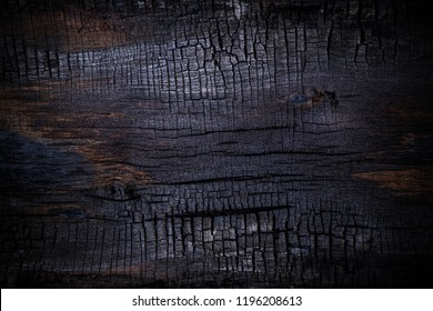 Burnt wooden Board texture. Halloween backdrop. Burned scratched hardwood surface. Smoking wood black plank halloween background