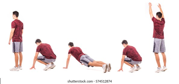 Burpee. Young man doing sport exercise.