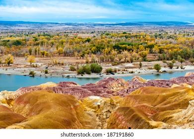 Burqin Yadan landform,China, also known as Colorful Beach, Irtysh River, Burqin County, Altay Prefecture, Xinjiang, China